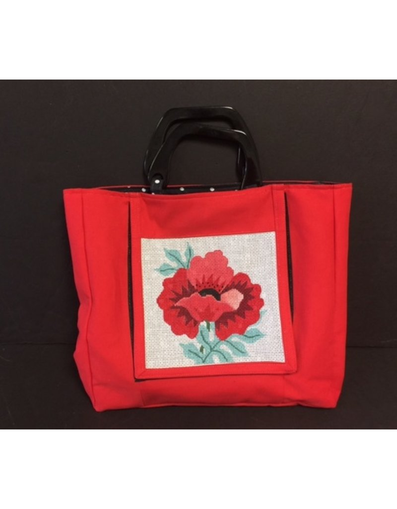 Accessories Red Purse, black lacquer handles, red poppie canvas, poka dot lining (self finishing)