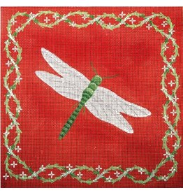 "JP Needlepoint Dragonfly with red/orange background<br /> 11"" x 11"""