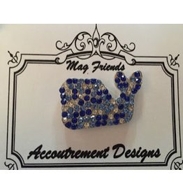 Accoutrement Designs Whale - blue stones - magnet