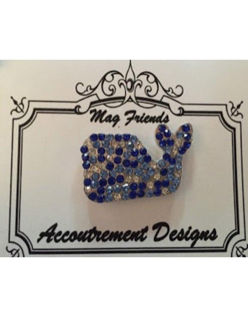 Accoutrement Designs Whale - blue stones - magnet