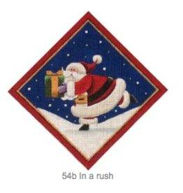 "Rebecca Wood Santa in a Rush - tree skirt diamond<br /> 6"" x 6"""