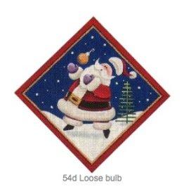 "Rebecca Wood Santa w/ Loose Bulb tree section diamond<br /> 6"" x 6"""