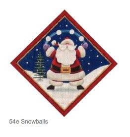 """Rebecca Wood Santa w/ Snowballs - tree skirt diamond<br /> 6"""" x 6"""""""