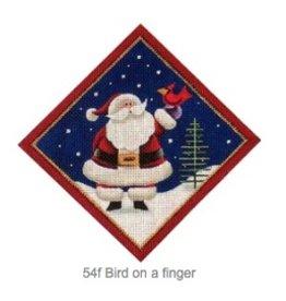 "Rebecca Wood Santa w/ Bird on a Finger - tree skirt diamond<br /> 6"" x 6"""