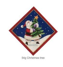 "Rebecca Wood Santa w/Christmas Tree - tree skirt diamond<br /> 6"" x 6"""