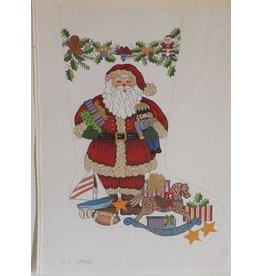 Alexa Santa holding Nutcracker and presents - stocking