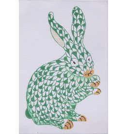 "Kate Dickerson Herend Green Fishnet Bunny<br /> 9"" x 6"""