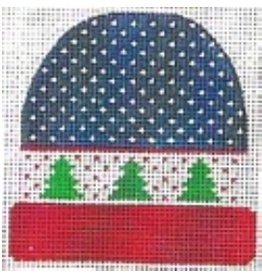 """Stitch-It Blue/Green w/Trees Stocking Cap<br /> ornament<br /> 4"""" x 3 3/4"""""""
