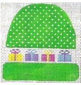 """Stitch-It Green stocking cap w/presents ornament<br /> 4"""" x 3 3/4"""""""