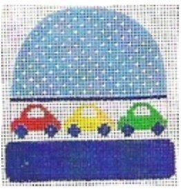 """Stitch-It Blue stocking cap w/cars ornament<br /> 4"""" x 3 3/4"""""""
