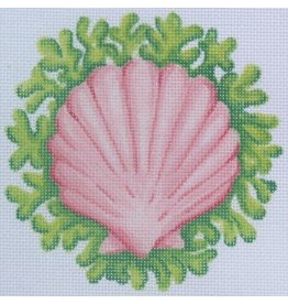 "Kate Dickerson Scallop w/seaweed ornament<br /> 4 3/4"" x 4 3/4"""