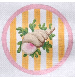 "Kate Dickerson Snail on Cabana Stripes - ornament<br /> 4"" Round"