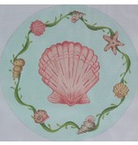 "Kate Dickerson Scallop w/Shell &amp; Seaweed Border<br /> 13 3/4"" Round"