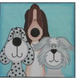 "Julie Mar 3 Whimsical short pups<br /> 8"" x 8"""