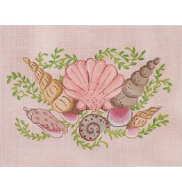 "Kate Dickerson Mixed Shells on Pink Sand<br /> 9"" x 7"""