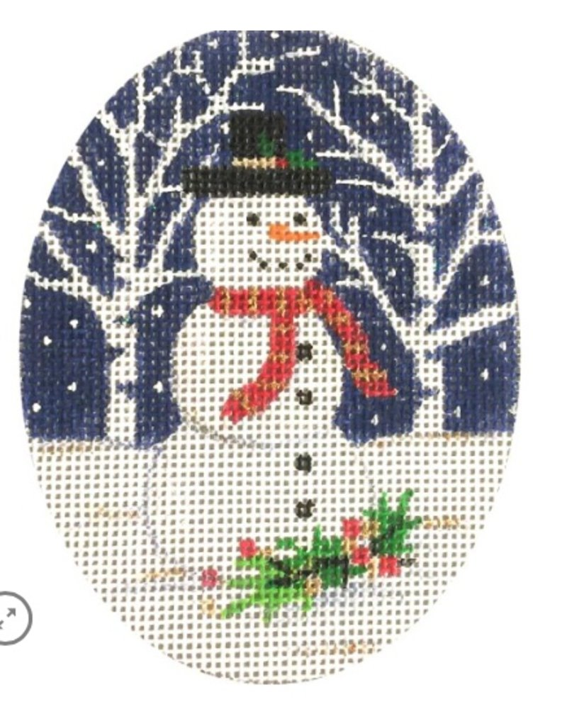 "Alice Peterson Snowman (3.5"" oval) ornament w/Frame"