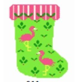 Voila! Mini Stocking w/Flamingos