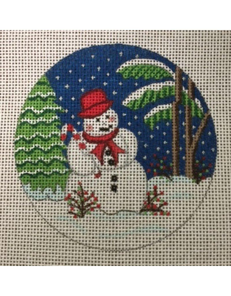 "Alexa Snowman w/trees &amp; Stary Night - <br /> ornament<br /> 3.5"" Round"
