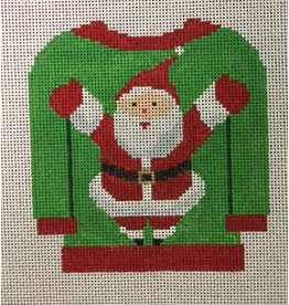 Collection Tack Sweater - Green & Red w/Santa - ornament