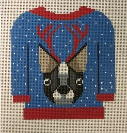 Collection Tacky Sweater - Dog on Blue & Red Sweater - ornament