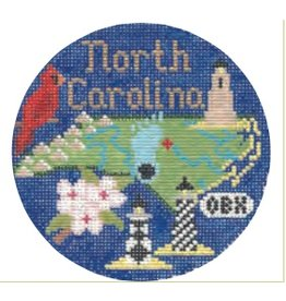 "Colonial Needle North Carolina ornament<br /> 4.25"" round"