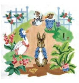 "Colonial Needle Garden Scene Chair Seat w/Peter Rabbit et al<br /> 14"" x 13"""