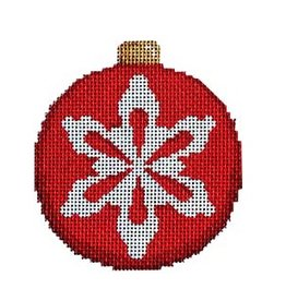 "Associated Talent Snowflake on Red Ball Ornament<br /> 3.25"" x 3.25"""