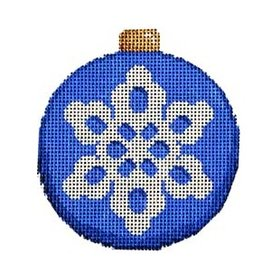 "Associated Talent Snowflake on Blue Ball Ornament<br /> 3.25"" x 3.25"""