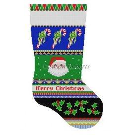 Susan Roberts Bold Stripe Santa Face & Candy Canes Stocking