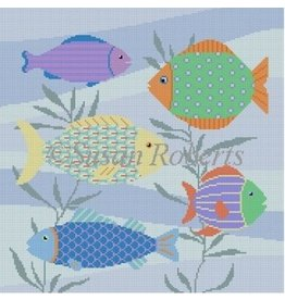 "Susan Roberts Multi Colored Fish<br /> 14"" x 14"""