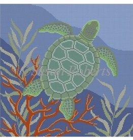 """Susan Roberts Seaweed Coral Turtle<br /> 14"""" x 14"""""""