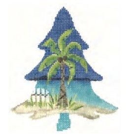 """Colonial Needle Palmetto Tree ornament<br /> 3.75"""" x 4.5"""""""
