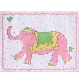 "Kate Dickerson Pink Elephant w/blue polka dots<br /> 11"" x 8.5"""