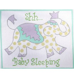 "Kate Dickerson ""shh….Baby Sleeping"" <br /> Elephant w/lime dots<br /> 7"" x 5.75"""