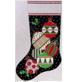 Meredith Christmas Tree Ornaments on Stocking w/ Black Background