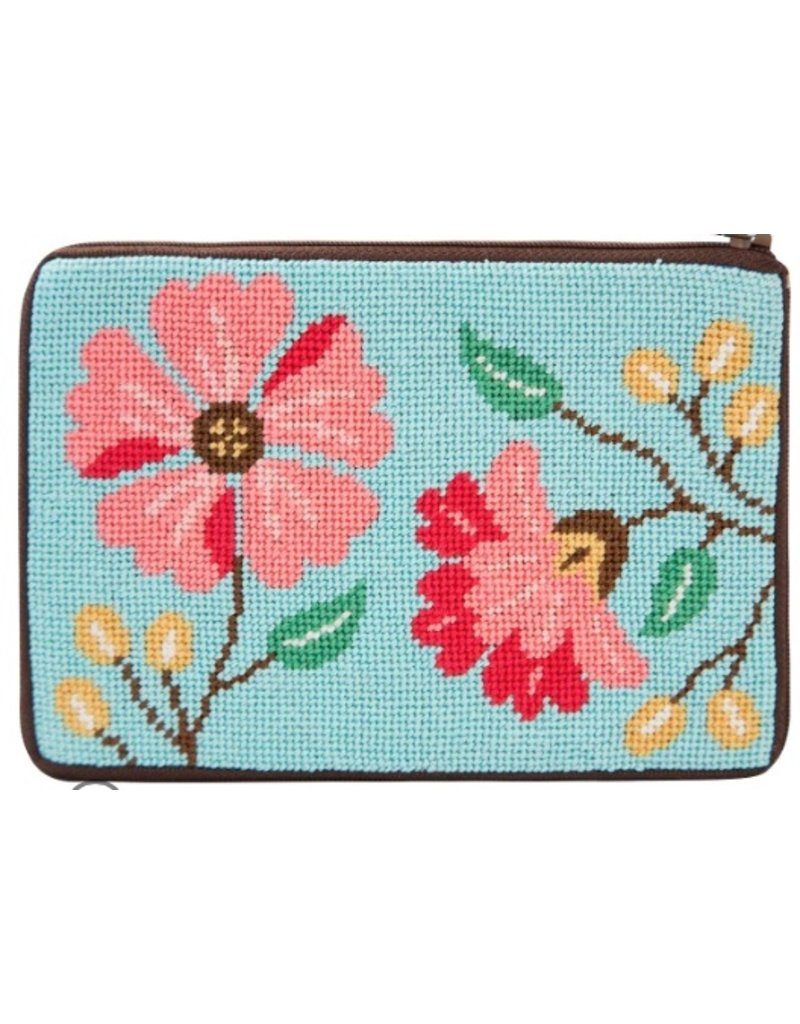 Alice Peterson Pink Flowers Coin Purse/Credit Card Case - Kit
