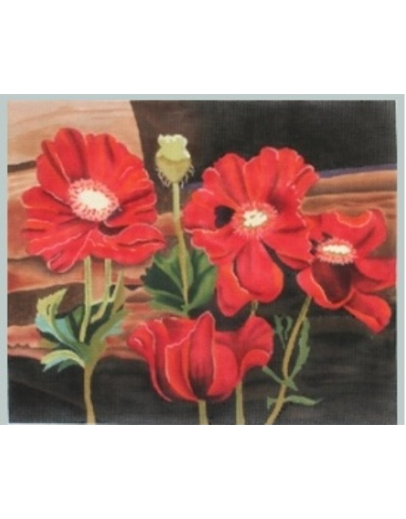 "Julie Mar Poppies at the Window Sill<br /> 12"" x 14.5"""