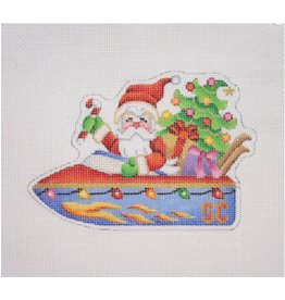 "Kirk &amp; Hamilton Santa on the Move in a Speedboat - ornament<br /> 3.75"" x 5"""