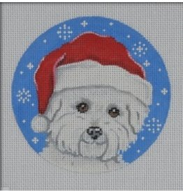 """Pepperberry Design Bichon Santa - ornament<br /> 4"""" x 4"""""""
