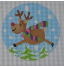"Pepperberry Design Flying Reindeer<br /> 4"" Round"
