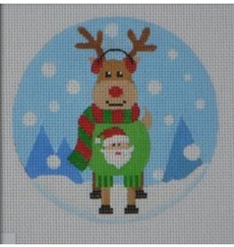 "Pepperberry Design Santa Sweater Reindeer<br /> 4"" Round"