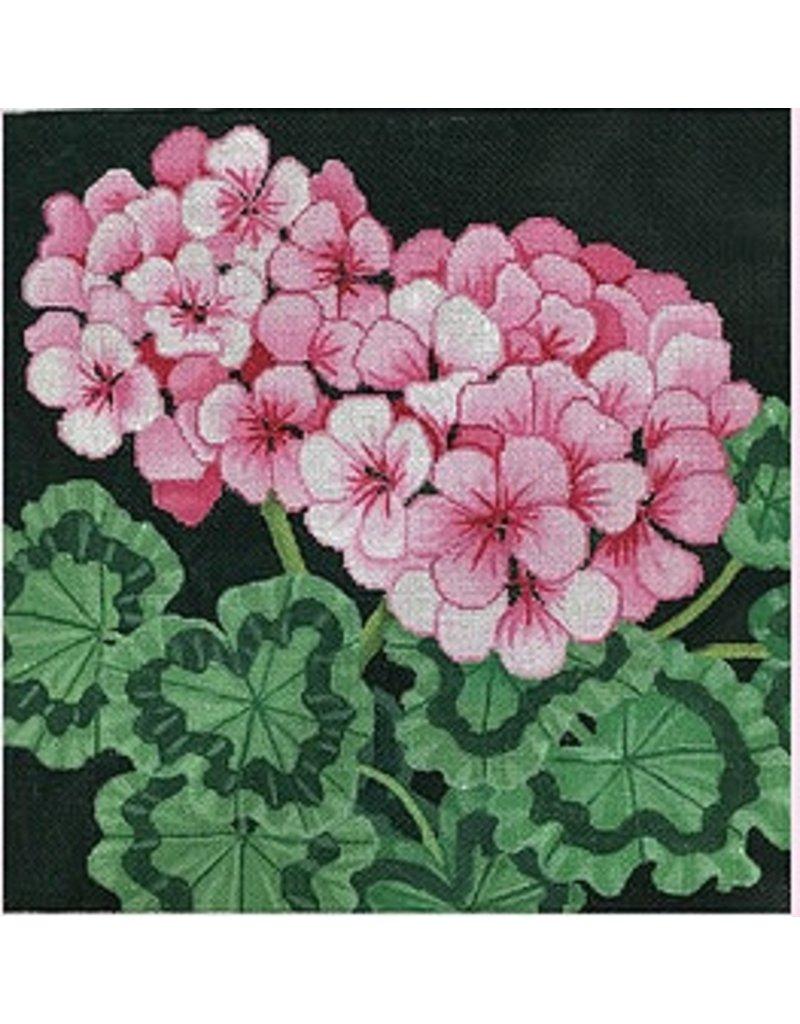 "Brenda Stofft Pink Geraniums<br /> 14"" x 14"""