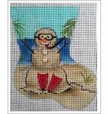 "All About Stitching Sandman Scuba Diver Mini Sock ornament<br /> 6"" x 5"""