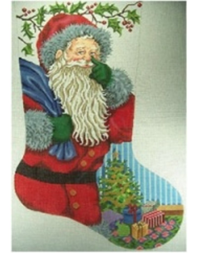 "All About Stitching Santa w/Christmas Tree stocking<br /> 24"" x 15"""