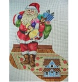 """All About Stitching Santa w/Toybag &amp; Doll House Stocking<br /> 24"""" x 13"""""""