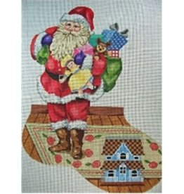 "All About Stitching Santa w/Toybag &amp; Doll House Stocking<br /> 24"" x 13"""