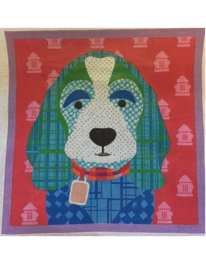 "All About Stitching Puppy w/Blue Patchwork background<br /> 13"" x 13"""
