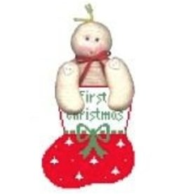 Kathy Schenkel Trees on Red Bootie w/Baby mini sock ornament