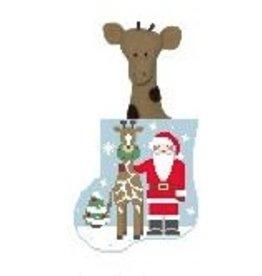 Kathy Schenkel Giraffe Santa w/Giraffe Mini Sock ornament