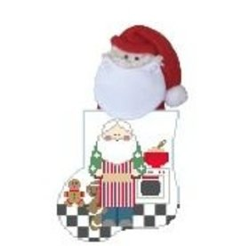Kathy Schenkel BakingCookies w/Santa mini sock ornament